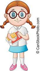 livro escolar, menina, segurando