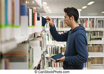 livro, escolher, biblioteca, homem