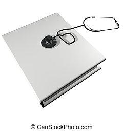 livro, estetoscópio