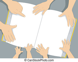 livro, família, fundo, mãos