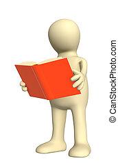 livro, fantoche, 3d, mãos