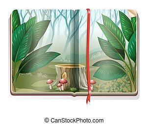 livro, floresta, cena