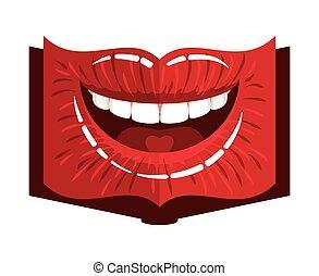 livro, forma, lábios