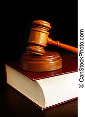 livro, gavel, corte lei, topo