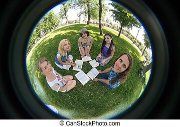 livro, grupo, estudante