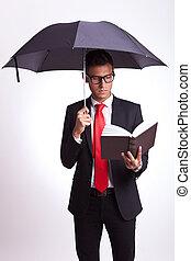 livro, guarda-chuva, leitura, sob
