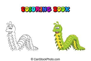 livro, isolado, caricatura, branca, millipede, fundo, coloração, personagem