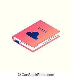 livro, isometric, bookmark., ilustração, papel, hardcover, vetorial, diário, ou, mentindo