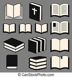 livro, jogo, ícones