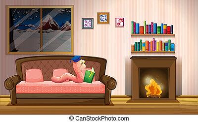 livro, lareira, verme, leitura