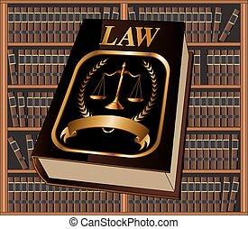 livro lei, selo, e, biblioteca