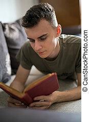 livro, leitura, adolescente
