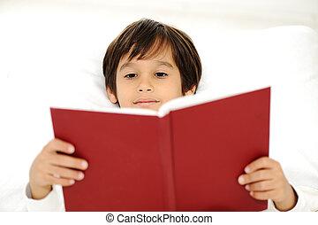 livro leitura, cama, criança