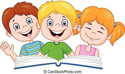 livro leitura, caricatura, crianças
