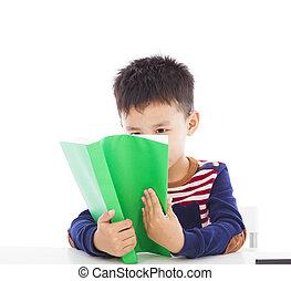 livro, leitura, criança, asiático