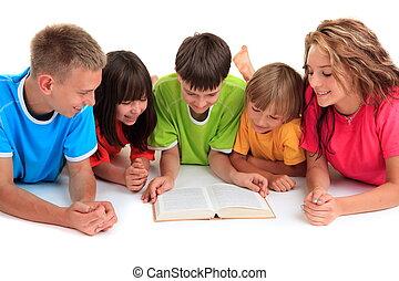 livro, leitura, crianças