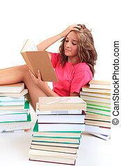 livro leitura, estudante