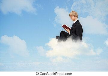 livro leitura, ligado, a, nuvem