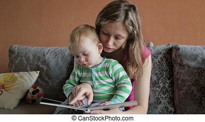 livro leitura, mãe, dela, filho