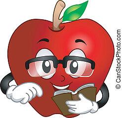 livro, leitura, maçã