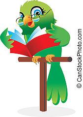 livro leitura, papagaio, caricatura