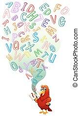 livro leitura, papagaio, inglês