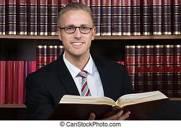 livro, leitura, sala audiências, advogado
