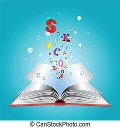 livro, letras, aberta