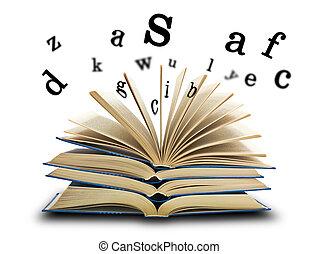 livro, letras