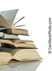 livro, ligado, a, fundo branco