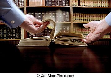 livro, mão