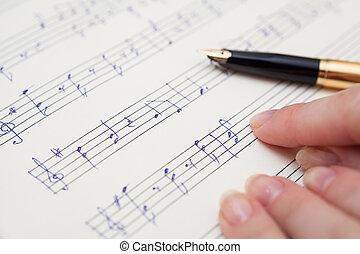 livro música, com, manuscrito, notas
