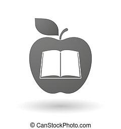 livro, maçã, ícone