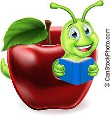 livro, maçã, caricatura, verme