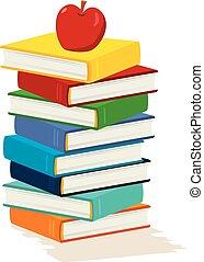 livro, maçã, pilha