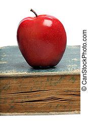 livro, maçã, vermelho, &
