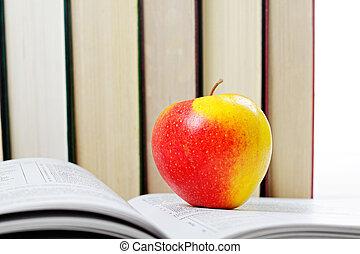 livro, maçã, vermelho