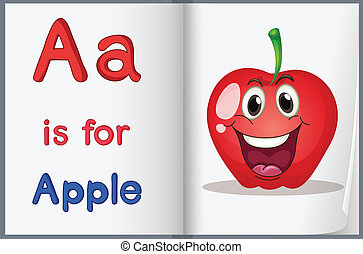 livro, maçã