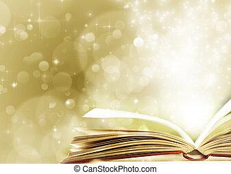 livro, magia, aberta, fundo, Natal