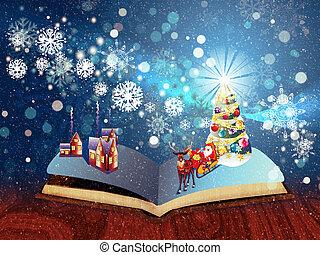 livro, magia, Natal