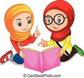 livro, meninas, leitura, muçulmano