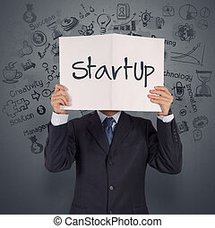 livro, mostrar negócio, homem negócios, startup, mão, conceito