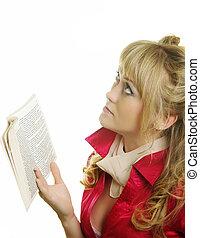 livro, mulher, bonito