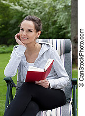 livro, mulher, jardim, leitura
