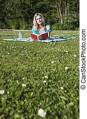 livro, mulher, parque, jovem, leitura