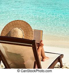 livro, mulher, praia, jovem, leitura