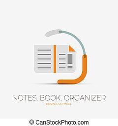 livro nota, página, companhia, logotipo, mínimo, desenho