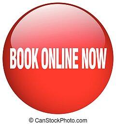 livro, online, agora, vermelho, redondo, gel, isolado,...
