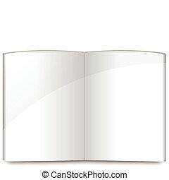 livro, páginas, modelo, em branco