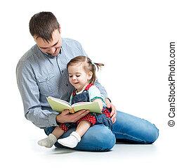 livro, pai, leitura, criança